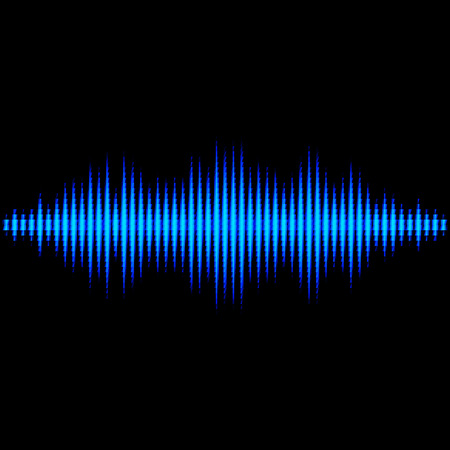 vibrations: Blue shiny sound waveform with triangle light filter