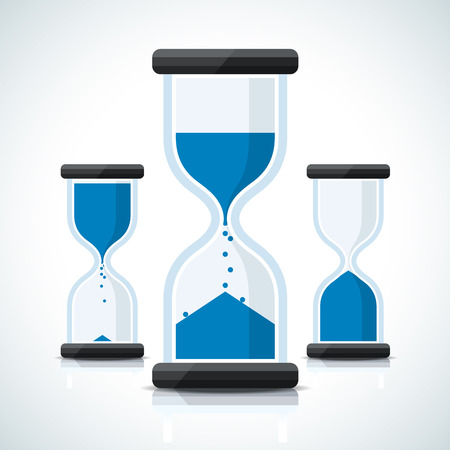 Blue flat business styled sand clock icons Ilustração Vetorial