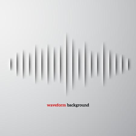 シャドウとサウンド波形記号をカット紙  イラスト・ベクター素材