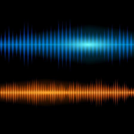wavelength: Fondo de forma de onda de sonido brillante azul y naranja con picos agudos