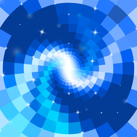techno background: Abstract blue mosaic glass spiral with flares