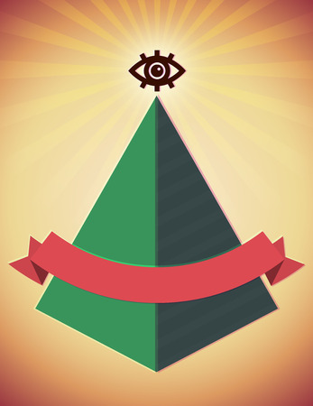 gnostic: Retro styled poster with all seeing eye and pyramid Illustration