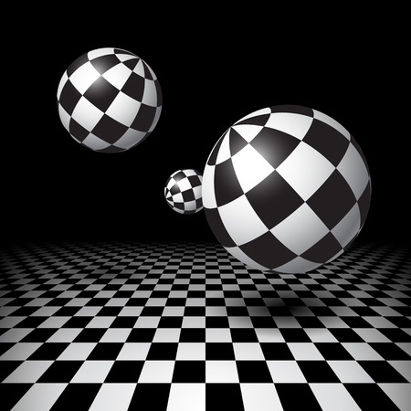 Magic black and white balls over checkered floor Vector