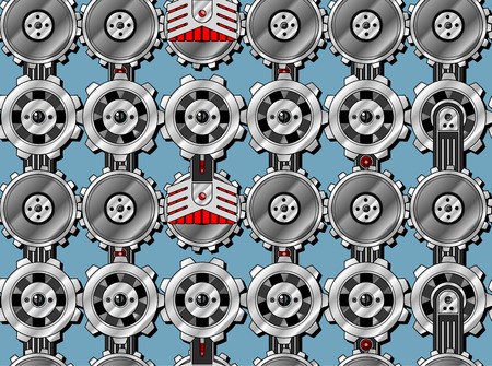 industrial decor: Seamless cogwheel pattern with screwed hitech connectors