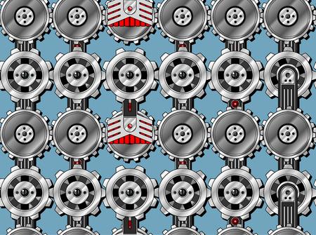 Seamless cogwheel pattern with screwed hitech connectors Vector
