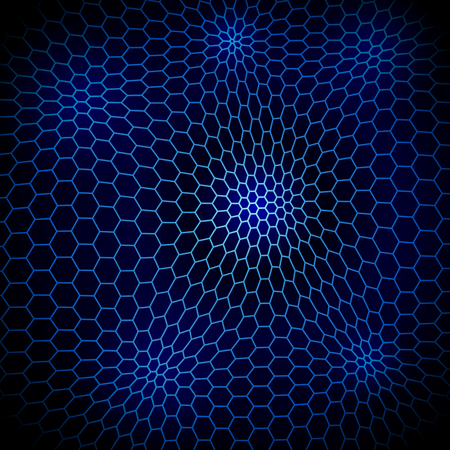 Abstract wavy net background with hex cells Vector
