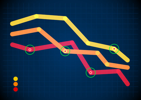 line graph: Intersecting graph lines with round pointers on dark screen Illustration