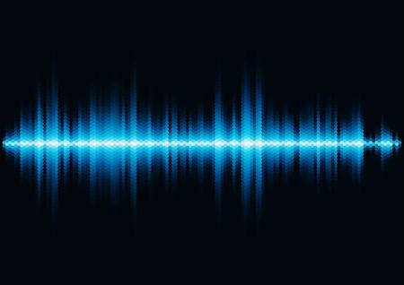 16 進グリッド光フィルターと青い光沢のあるサウンド波形  イラスト・ベクター素材