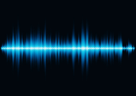 Blue shiny sound waveform with hex grid light filter Vector
