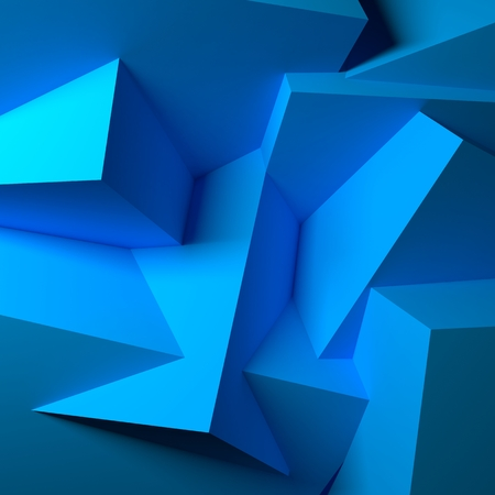 Abstract with realistic overlapping blue cubes photo