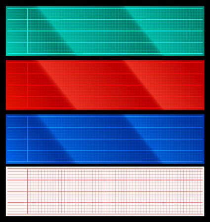 electric grid: Set of cardio scanner display and paper grids