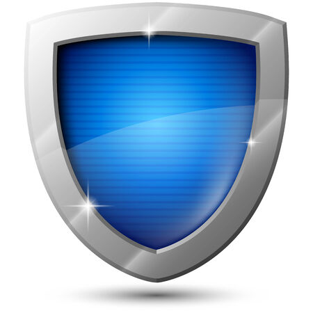 anti virus: Blue glossy vector metal shield with sparkles