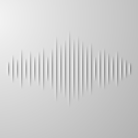 Paper cut sound waveform sign with shadow Vector