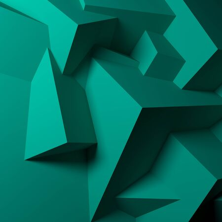 Abstract background with realistic overlapping green cubes photo
