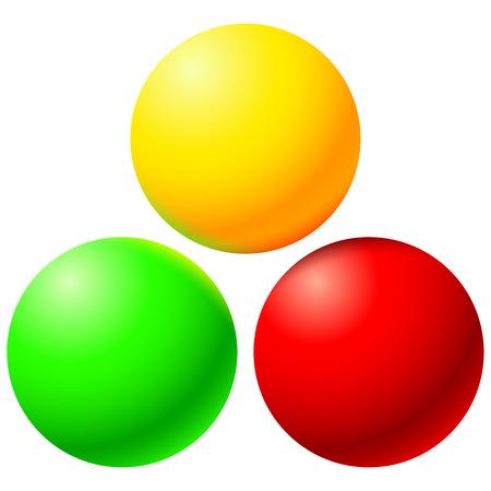 色の反射で明るいボールのセット