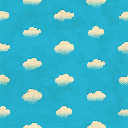 Vintage aged seamless pattern with clouds in the sky Vector