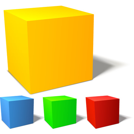 Set of four brignt colored cubes. Red, green, blue and yellow Vector