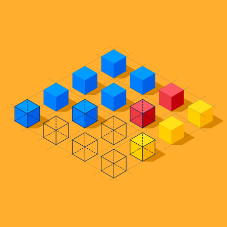 clusters: Flat infographics with cubes and wired structures. Diamond shaped plane