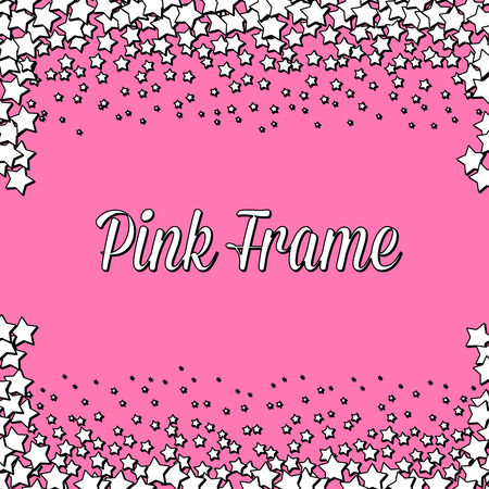 rnb: Pink frame made of kawaii white stars