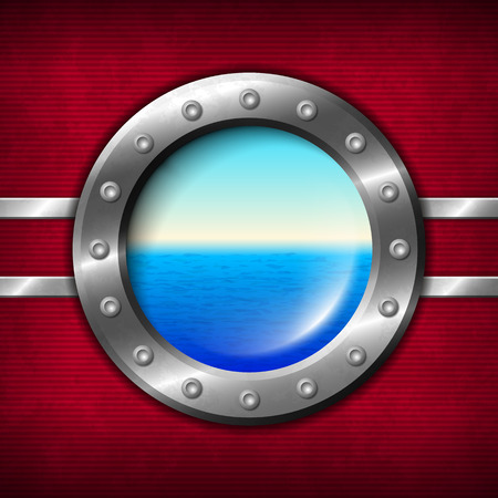 illuminator: Ship porthole with rivets and seascape outside