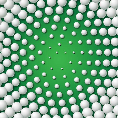 golf swing: Circular frame made of concentric golf balls