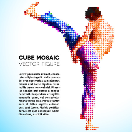 martial art: sportsman made of colorful 3D scattered cubes
