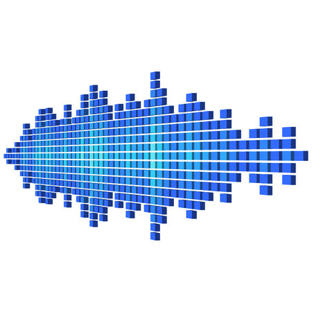 sine wave: Perspective 3D blue sound waveform made of cubes