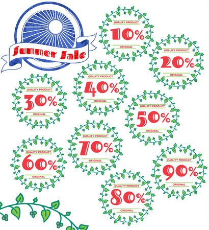 Set of summer sale retro labels with floral ornament Vector