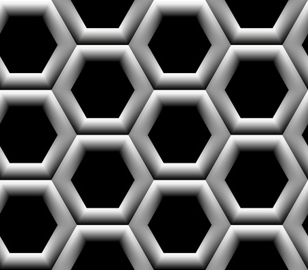 Seamless pattern with black and white hexagonal cells Vector