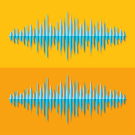 vibrations: Flat stereo music wave icon on yellow background Illustration