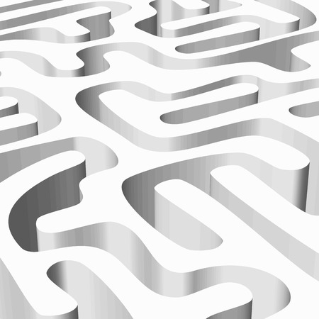lost child: Abstract background with smooth white 3D maze Illustration