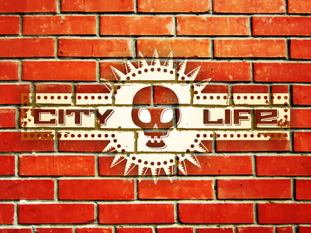 urban life: Pared de ladrillo con la muestra de la vida urbana y el cr�neo