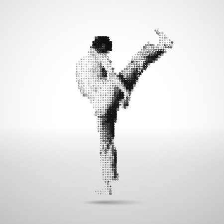 martial art: Vector sportsman made of black and white scattered cubes