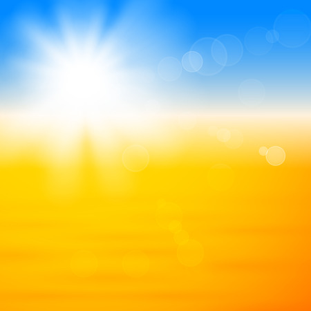 Background with shiny sun with flares over the sand Vector
