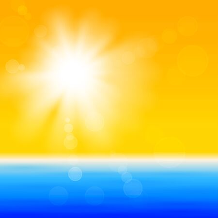 Background with shiny sun with flares over the sea Vector