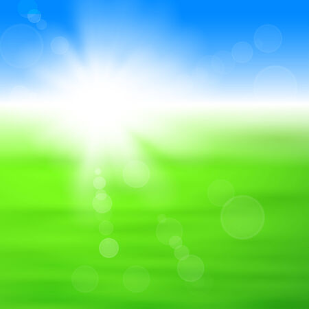 Background with shiny sun with flares over the green field Vector