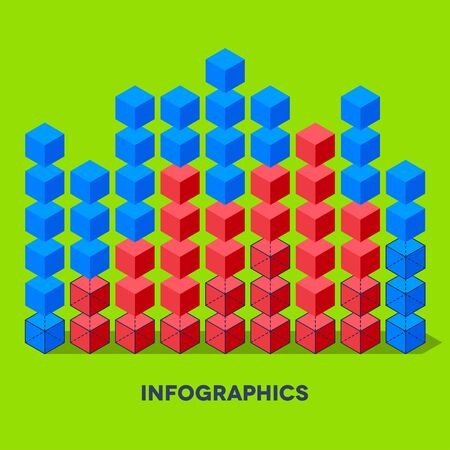 Flat infographics with cubes and wired structures Vector