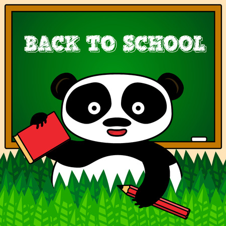 Back to school card with panda holding book and pencil Vector