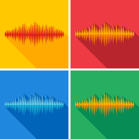 sine wave: Set of flat music wave icons with long shadow