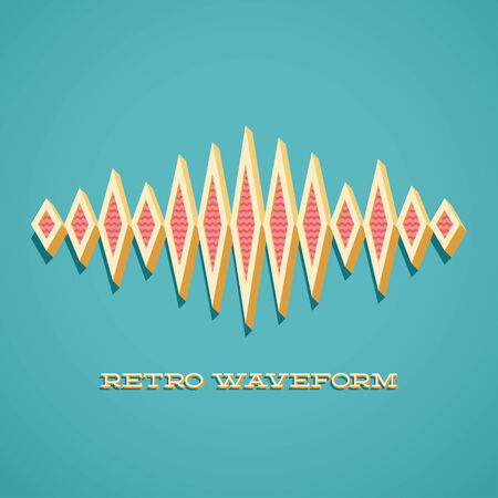 sine wave: Retro card with 3D sound waveform and shadow