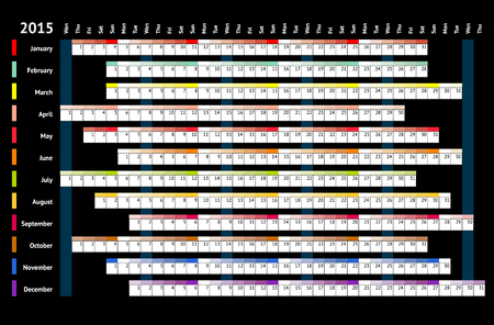 Black linear calendar 2015 with days and months color coding Vector