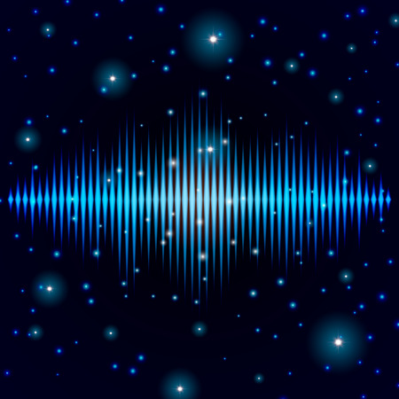 concept magical universe: Mystic shiny sound sign with sparkles in galaxy