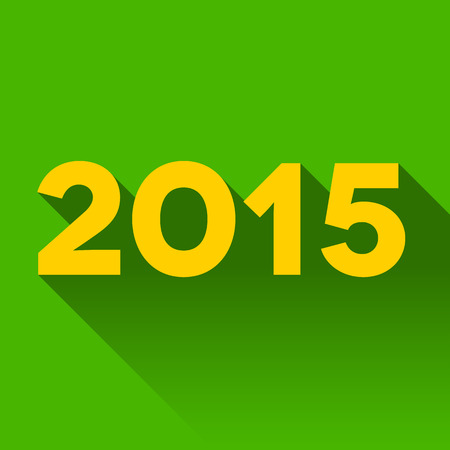 2015 year sign with long shadow on the green Vector