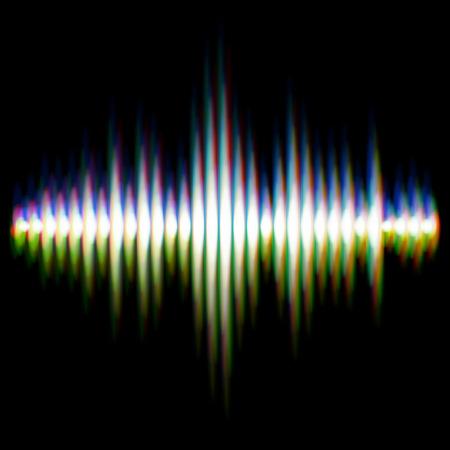 sonar: Shiny sound waveform with vibrating light aberrations Illustration