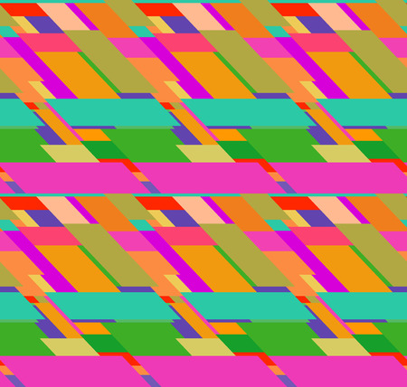 skewed: Flat colorful seamless pattern with chaotic skewed rectangles Illustration