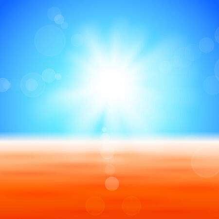 Background with shiny sun with flares over the autumn field Vector