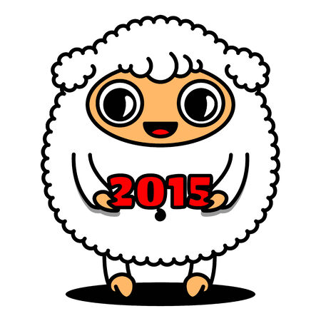 Sheep with number 2015, sign of the year Vector