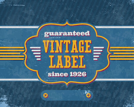 shifted: Aged vintage label with shifted colors on the blue cardboard Illustration