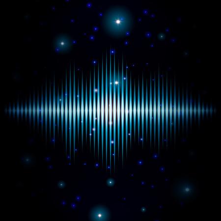 wavelength: Mystic signo sonoro brillante con destellos en galaxia borrosa Vectores