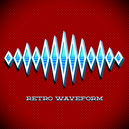 nostalgy: Retro card with 3D sound waveform and shadow